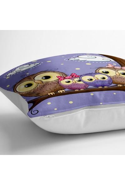 RealHomes Baykuş Resimli Dijital Baskılı Dekoratif Yer Minderi - 70 x 70 cm