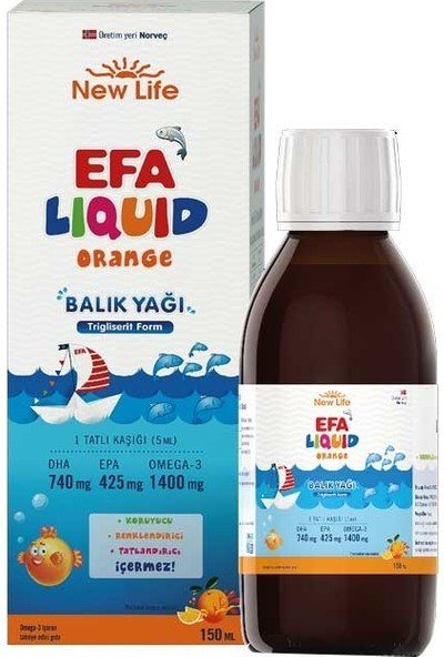 New Life Efa Liquid Balık Yağı Sıvı 150 ml - Portakal