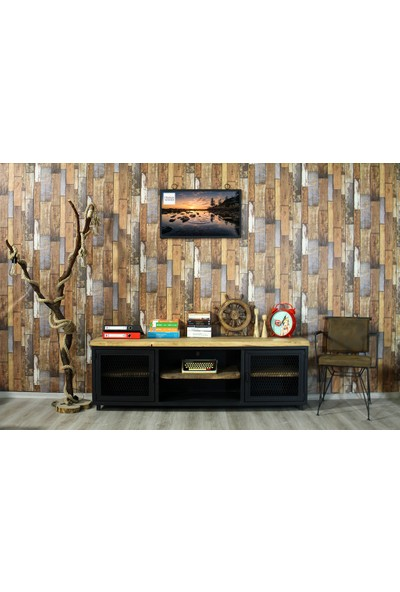 Trakia Wood TRK-001 Masif Ahşap Metal Endüstriyel Tasarım Tv Ünitesi