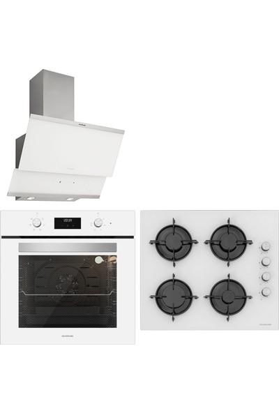 Silverline Beyaz Cam Ankastre Set Bo6502W01 - Cs5349W01 - 3420