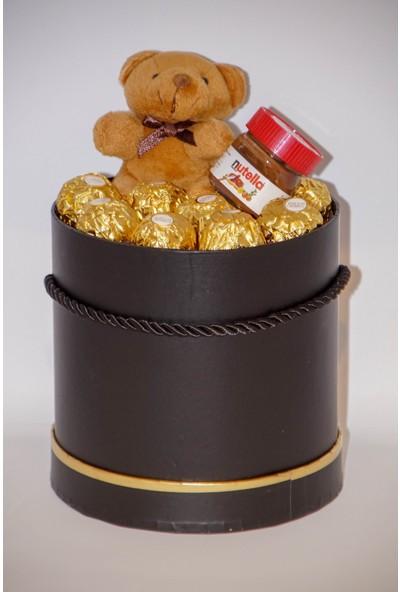 Filika Store Siyah Silindir Orta Kutuda FerreroNutellaAyıcık