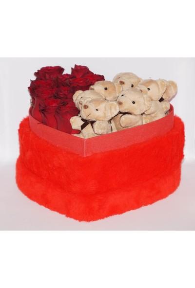 Filika Store Kırmızı Kalpli Büyük Peluş Kutuda Gül ve Ayıcık