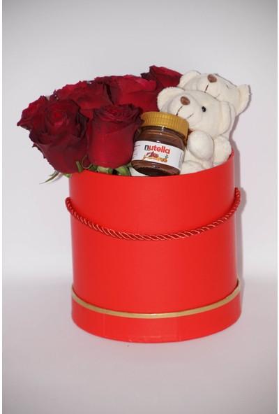 Filika Store Kırmızı Silindir Orta Kutuda Gül Nutella ve Ayıcık
