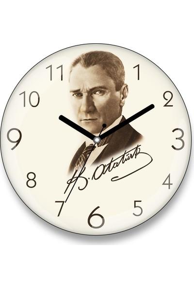 İyi Fikirler Atatürk Tasarım Bombeli Cam Duvar Saati