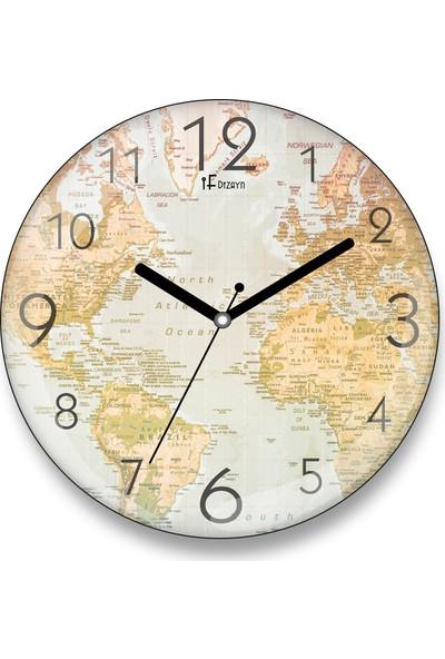 İyi Fikirler Dünya Haritası Bombeli Cam Duvar Saati