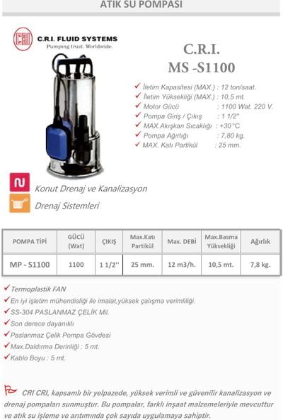 Cri MS-1100 Atık Su Dalgıç Pompası 1100 W