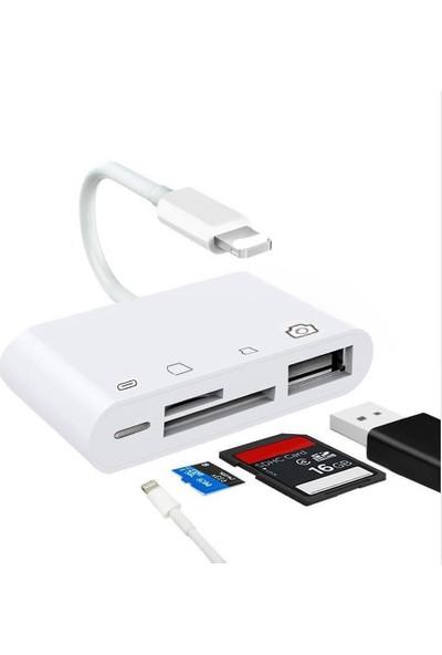 Ssmobil 4in1 Apple iPhone Lightning To TFSD Card USB Kamera Adaptörü NK108L