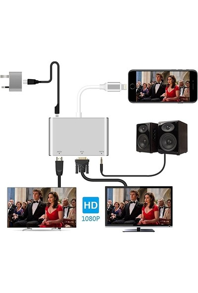 Ssmobil Apple iPhone P32 Hdmi Vga Av Audio Dönüştürücü Adaptör SS28965
