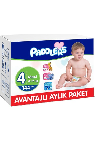 Paddlers 4 Numara Maxi 144 Adet (8-19 kg) Aylık Paket