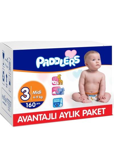 Paddlers 3 Numara Midi 160 Adet (4-9 kg) Aylık Paket