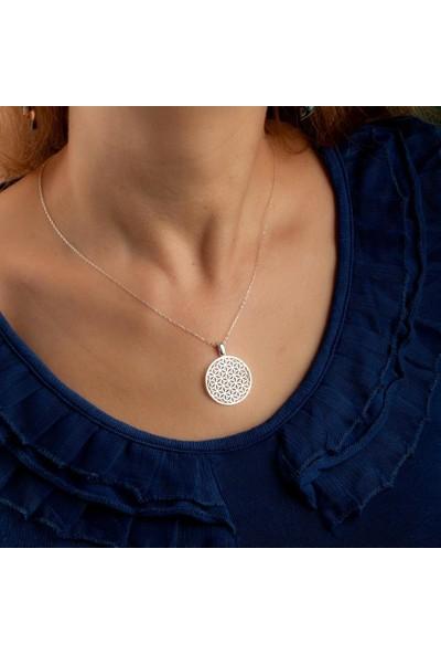 Anı Yüzük 925 Ayar Gümüş Yaşam Çiçeği Yuvarlak Kadın Kolye