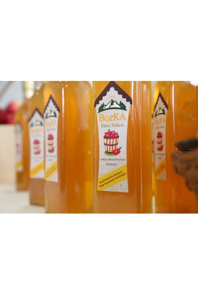BOZKA Meşe Fıçılarında Bekletilmiş Katkısız Doğal Fermente Elma Sirkesi 500 ml