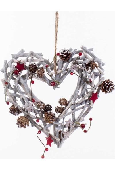 Euro Flora Dekorlu Yılbaşı Süsü Dal Kalp 31 x 31 cm