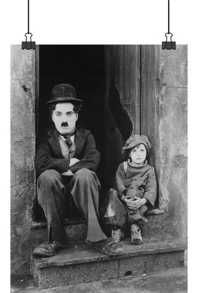 Charlie Chaplin Siyah Beyaz Film Afiş 70 x 50 cm Posteri