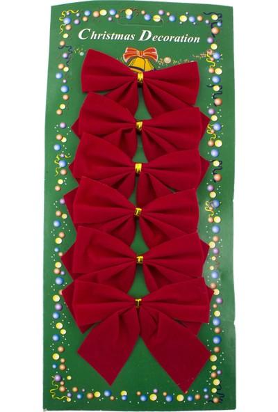 Euro Flora Yılbaşı Süsü Dekoratif Fiyonk Kırmızı 6'lı Paket 9x6 Cm