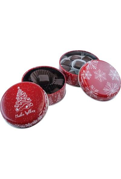 Tafe Yılbaşı Özel Hediyelik Çikolata Kaplı Fıstıklı Lokum Metal Kutu 100 gr 2'li