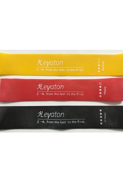 Leyaton Aerobik Band Latex Aerobik Bandı Pilates Yoga Lastiği Squat Kalça Basen Geliştirme Seti 3'lü Set