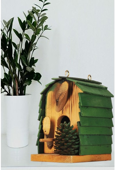 Ege Concept Life Ahşap Yeşil Çatılı Kuş Evi