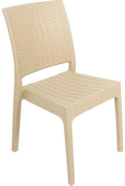 Mandella Elit Rattan 90x150 4 kişilik Elit Sandalye Camlı Masa Takımı