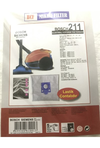 BLC Bosch Sphera 22 5 Katlı Sentetik Toz Torbası (15 Adet)