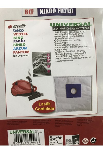 BLC Vestel Alize 5 Katlı Sentetik Toz Torbası (15 Adet)