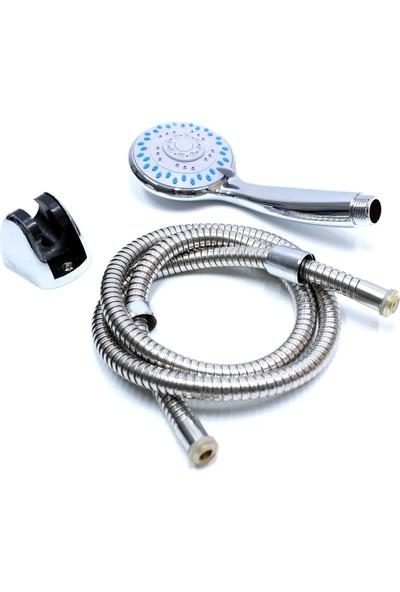Makro Yapı Fonksiyonlu Mafsallı Duş Başlığı Spiral Hortum Mafsallı Duş Seti