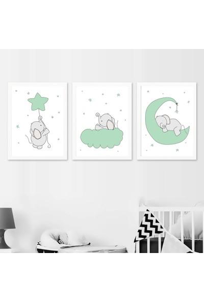 Minik Ayı Sevimli Filler Üçlü Çerçeve Seti-Yeşil