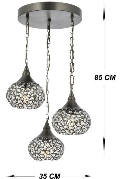 Venon Aydınlatma Viola 3'lü Sarkıt Camı Metal Antik Elmas 12