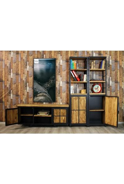 Trakia Wood TRK-009 Masif Ahşap Metal Endüstriyel Tasarım 2 Kitaplıklı Tv Ünitesi