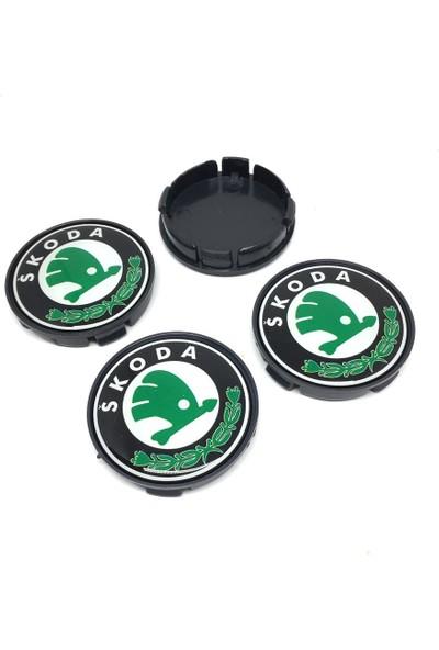 Oto Aksesuarcım Skoda Damla Geçme Jant Göbeği Yeşil Siyah 4'lü 55/60MM