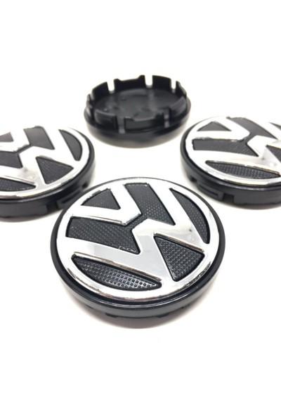 Oto Aksesuarcım Volkswagen Kromlu Jant Göbeği Siyah 4'lü 52/56MM 6C0601171