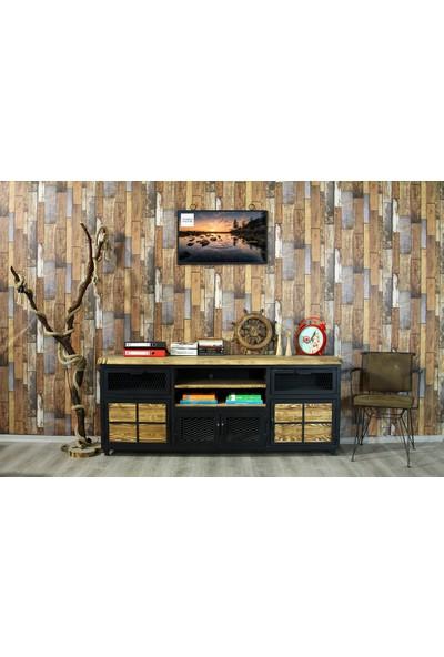 Trakia Wood TRK-006 Masif Ahşap Metal Endüstriyel Tasarım Konsol