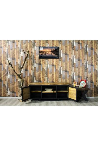 Trakia Wood TRK-002 Masif Ahşap Metal Endüstriyel Tasarım Tv Ünitesi