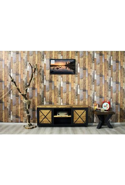 Trakia Wood TRK-003 Masif Ahşap Metal Endüstriyel Tasarım Tv Ünitesi