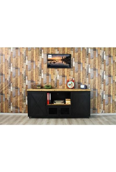 Trakia Wood TRK-007 Masif Ahşap Metal Endüstriyel Tasarım Konsol