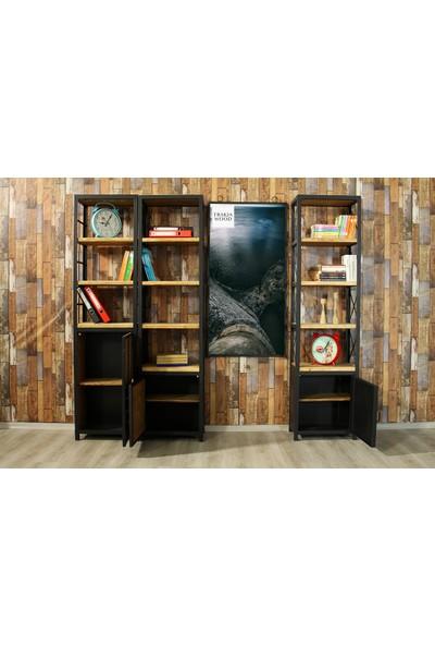 Trakia Wood TRK-0012 Masif Ahşap Metal Endüstriyel Tasarım Kapaklı Kitaplık