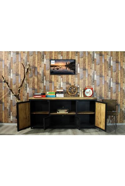 Trakia Wood TRK-005 Masif Ahşap Metal Endüstriyel Tasarım Tv Ünitesi