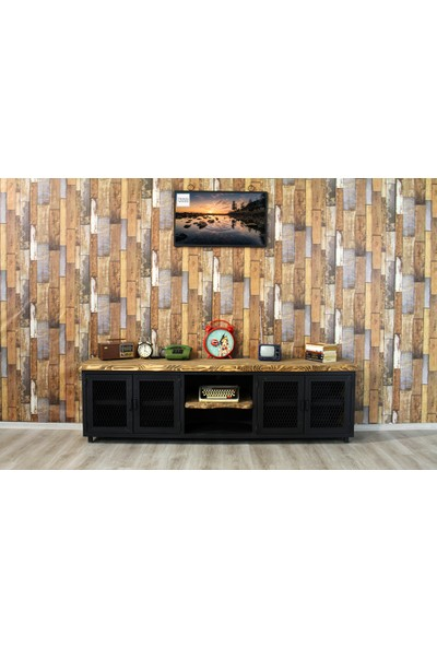 Trakia Wood TRK-008 Masif Ahşap Metal Endüstriyel Tasarım Konsol