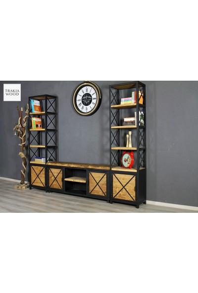 Trakia Wood TRK-011 Masif Ahşap Metal Endüstriyel Tasarım 2 Kitaplıklı Tv Ünitesi