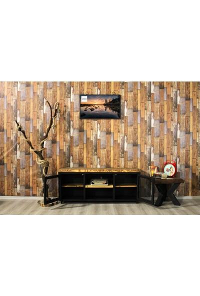 Trakia Wood TRK-004 Masif Ahşap Metal Endüstriyel Tasarım Tv Ünitesi