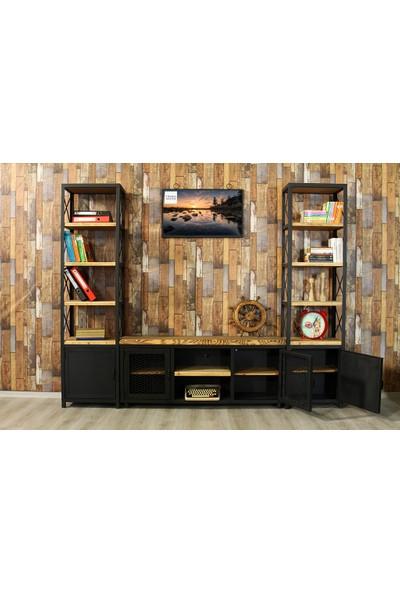 Trakia Wood TRK-010 Masif Ahşap Metal Endüstriyel Tasarım 2 Kitaplıklı Tv Ünitesi