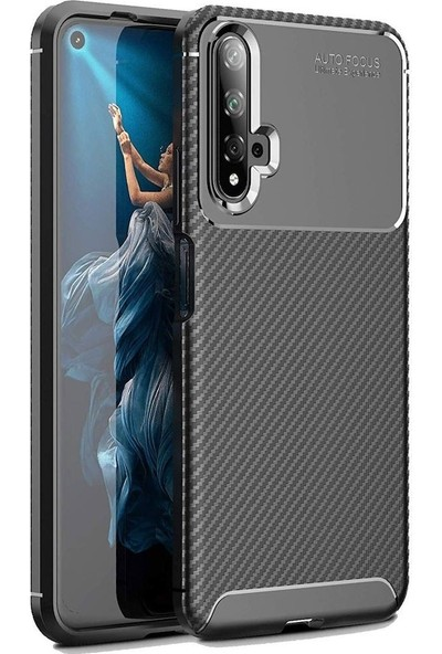 Tbkcase Huawei Nova 5T Negro Silikon Kılıf Siyah + Nano Ekran Koruyucu