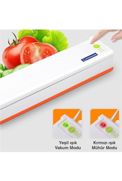 Küchen Pratic Ev Tipi Elektrikli Gıda Vakum Makinesi - Mavi + 10 Poşet