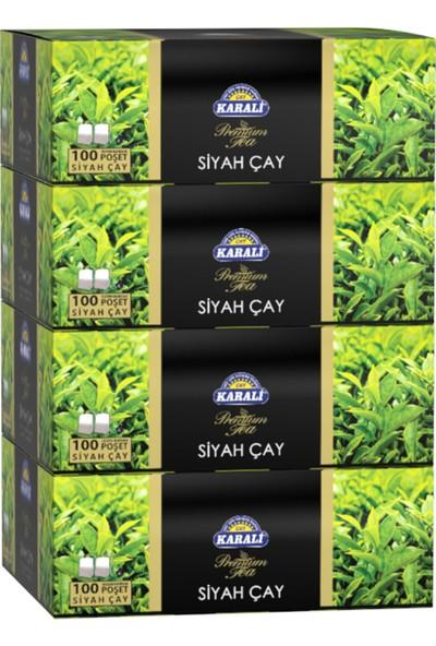 Karali Premium Bardak Poşet Siyah Çay 100'LÜ x 4 Adet