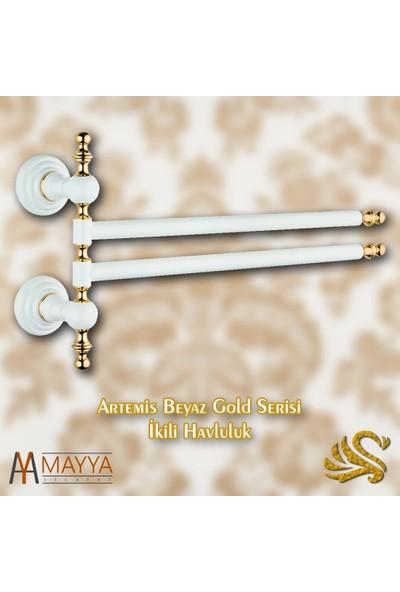 Saray Banyo Artemis Beyaz Gold İkili Döner Havluluk
