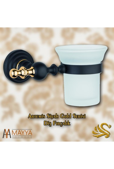 Saray Banyo Artemis Siyah Gold Fırçalık