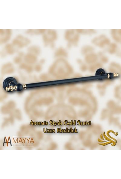 Saray Banyo Artemis Siyah Gold Uzun Havluluk