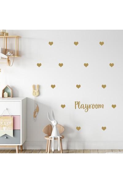 Sim Tasarım Gold Kalpler Playroom Sticker
