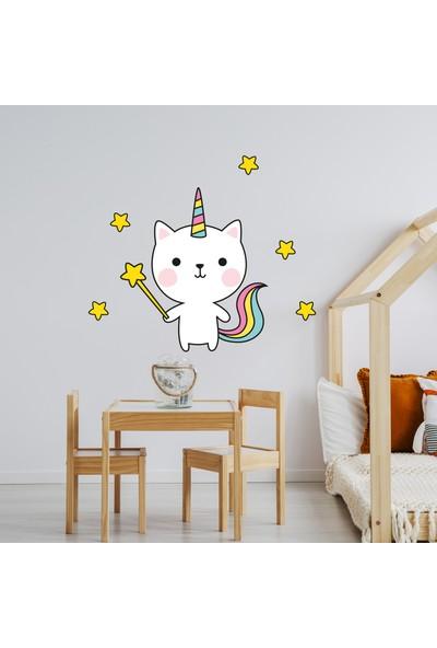 Sim Tasarım Sevimli Kedi Unicorn Yıldızlar Duvar Sticker Set