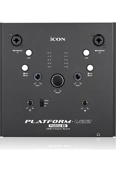 Icon Platform U22 2 Giriş 2 Çıkış / USB 3.0 / 24 Bit 192 Khz / Midi in-out / Profesyonel Ses Kartı